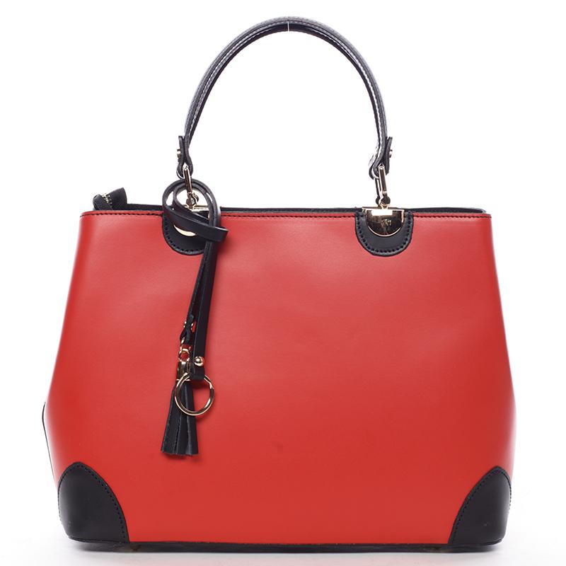 Červeno černá luxusní kožená kabelka ItalY Roderica