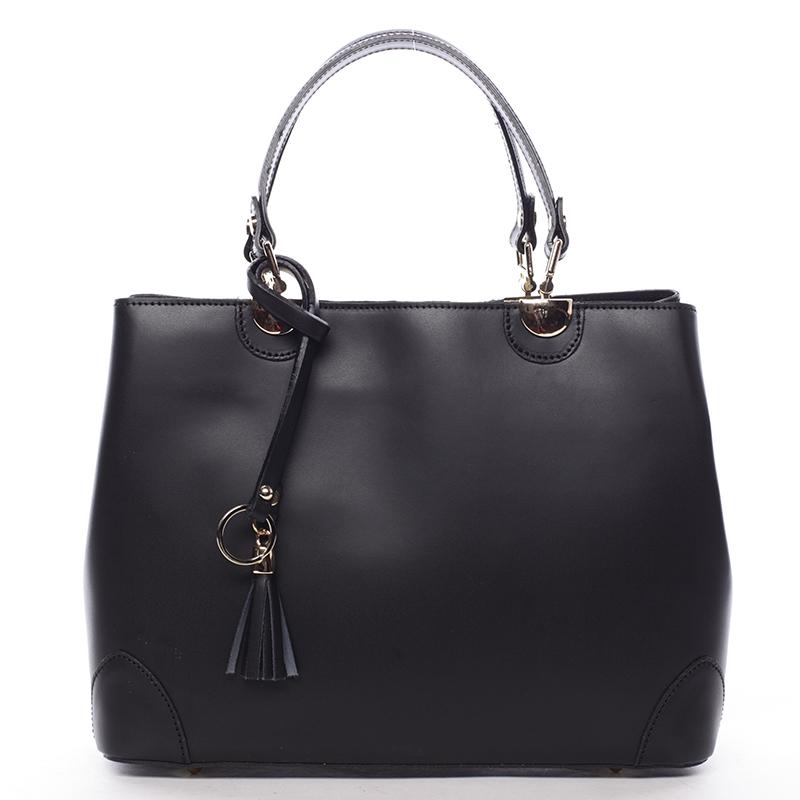 Černá luxusní kožená kabelka ItalY Roderica