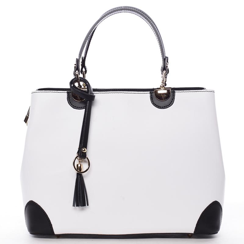 Bílo černá luxusní kožená kabelka ItalY Roderica