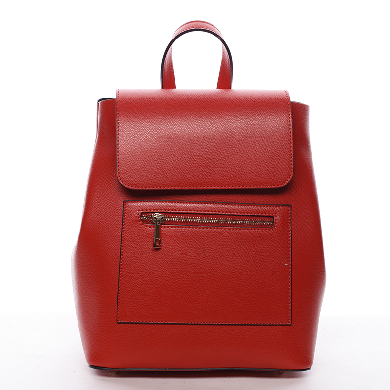 Dámský městský batoh kožený červený - ItalY Bernadea