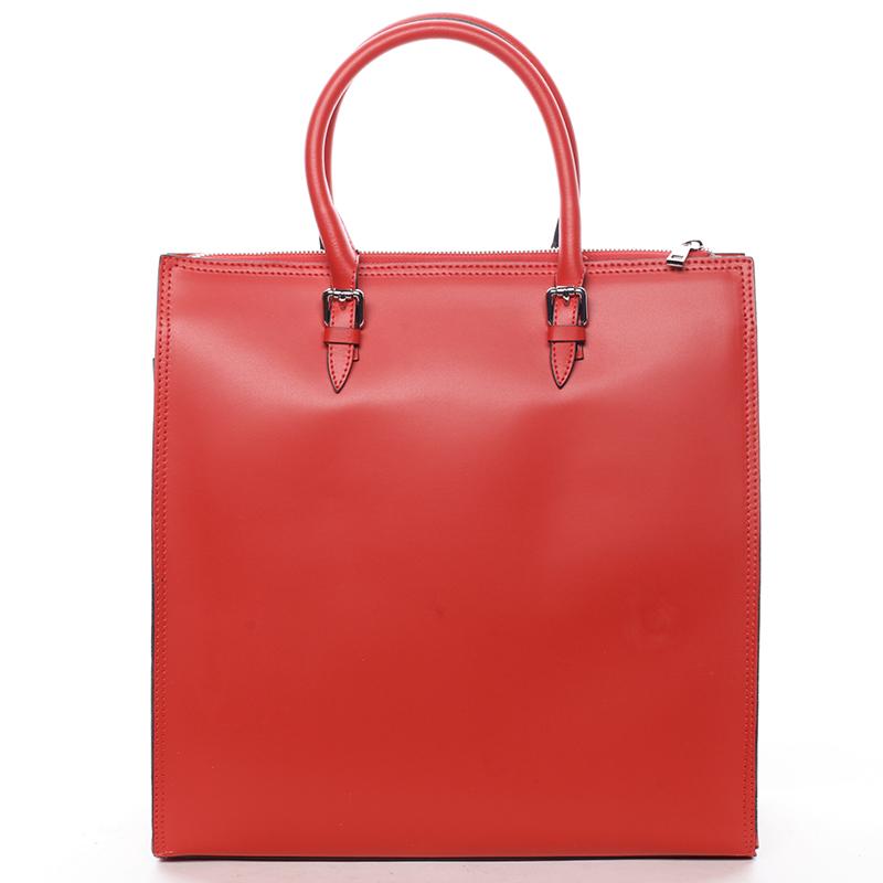 Elegantní dámská kožená kabelka červená - ItalY Moniqua