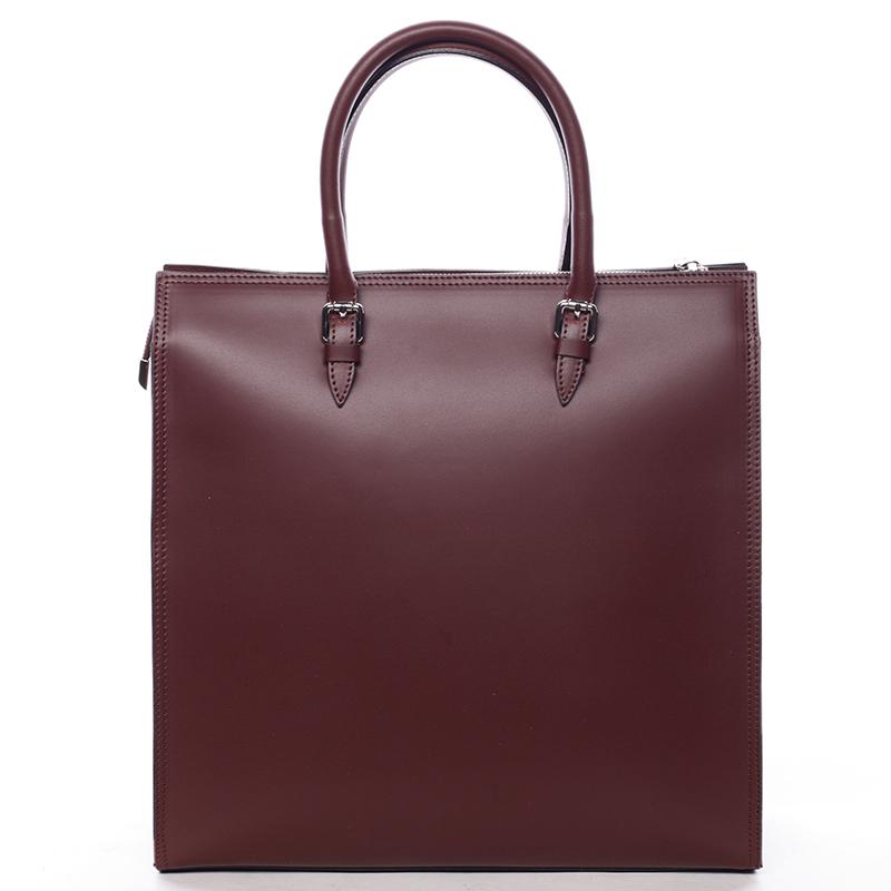 Elegantní dámská kožená kabelka vínová - ItalY Moniqua