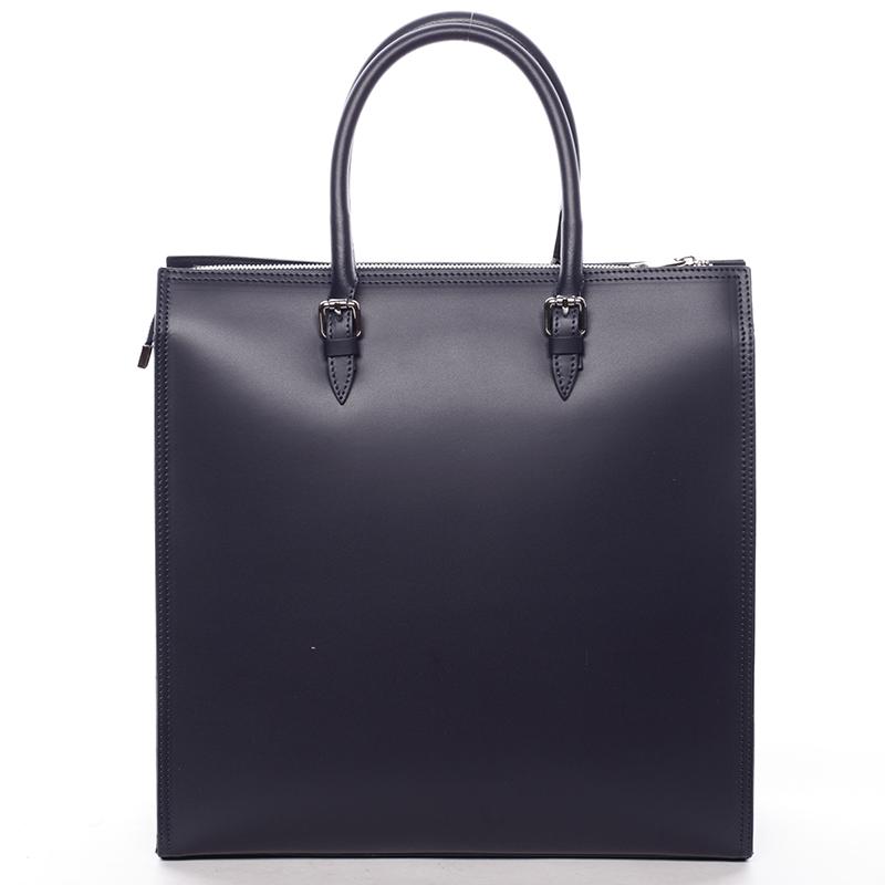 Elegantní dámská kožená kabelka tmavě modrá - ItalY Moniqua