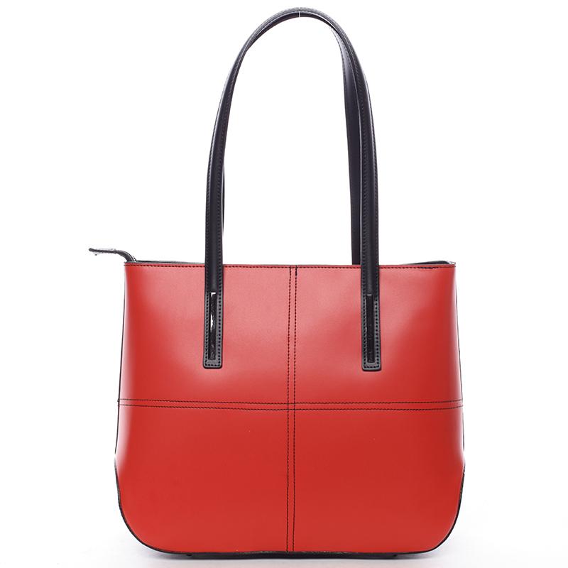 Moderní dámská kožená kabelka červeno černá - ItalY Adalicia