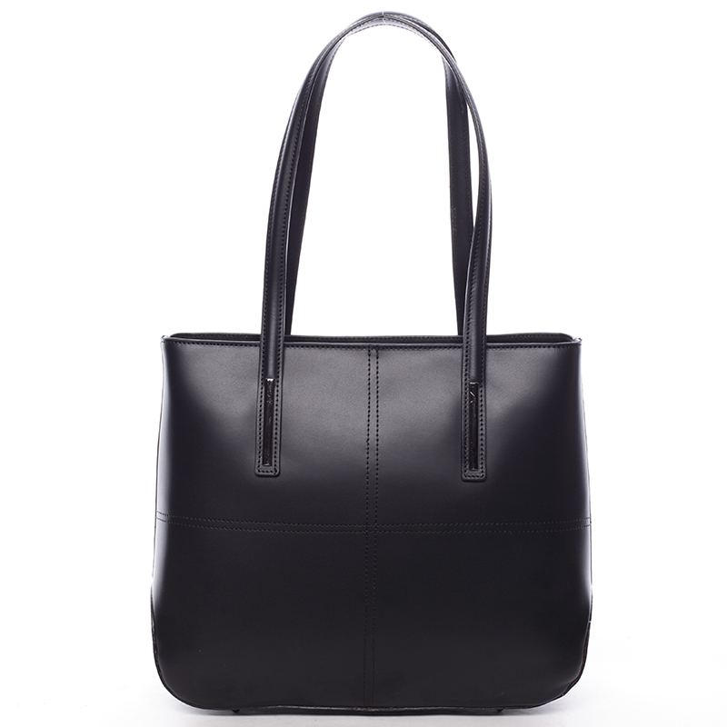 Moderní dámská kožená kabelka černá - ItalY Adalicia