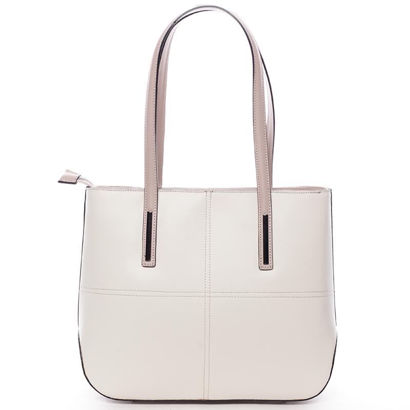 Moderní dámská kožená kabelka béžová - ItalY Adalicia