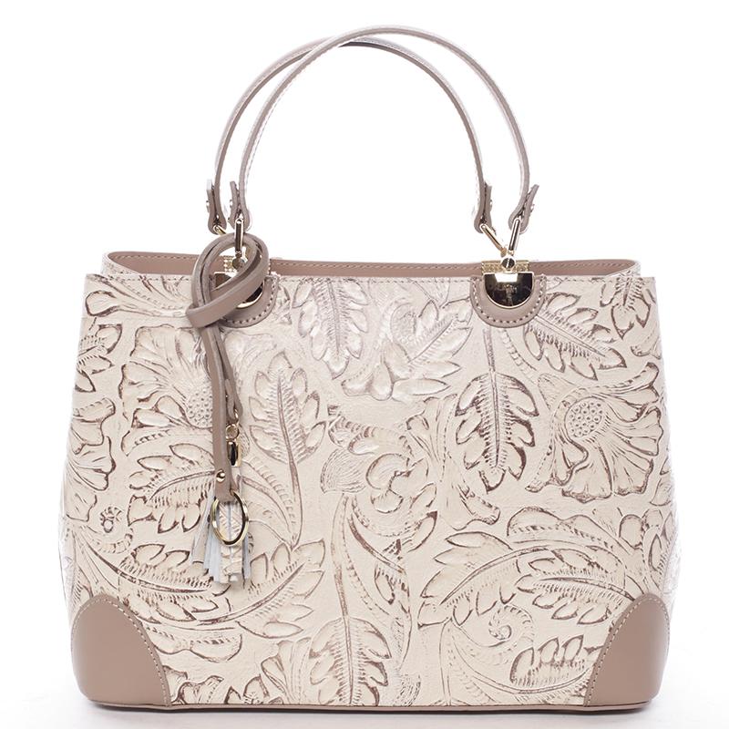 Originální dámská kožená kabelka taupe - ItalY Mattie