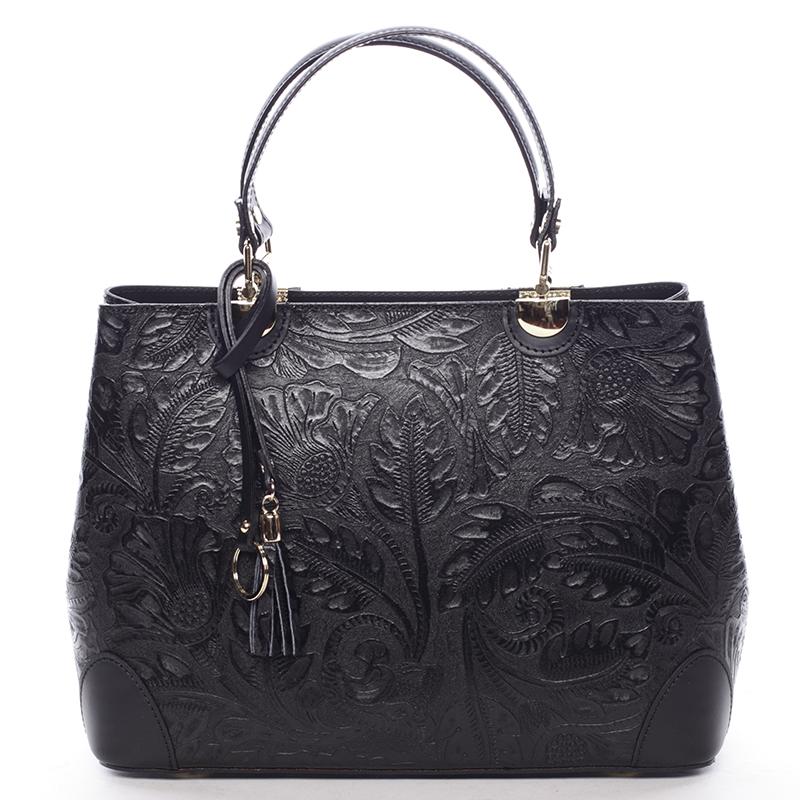 Originální dámská kožená kabelka černá - ItalY Mattie
