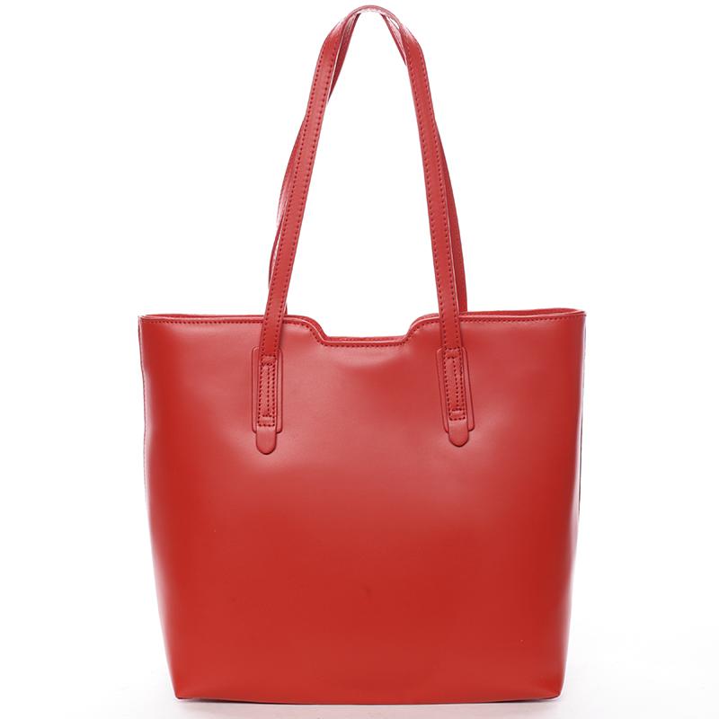 Elegantní dámská kožená kabelka červená - ItalY Aimee
