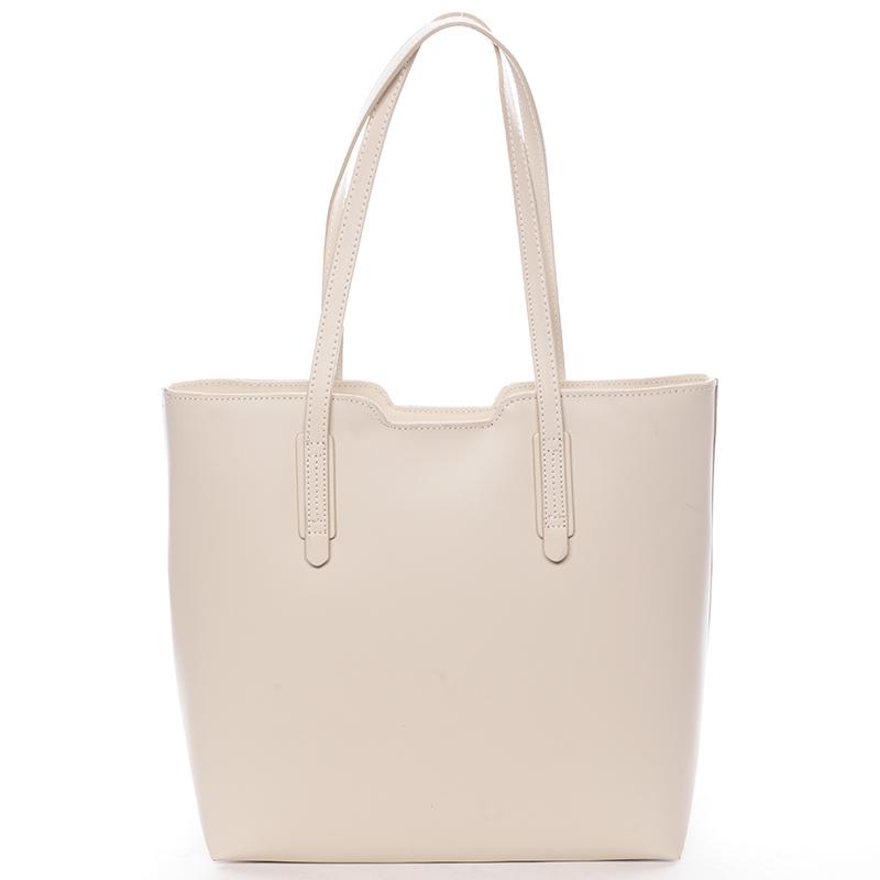 Elegantní dámská kožená kabelka béžová - ItalY Aimee