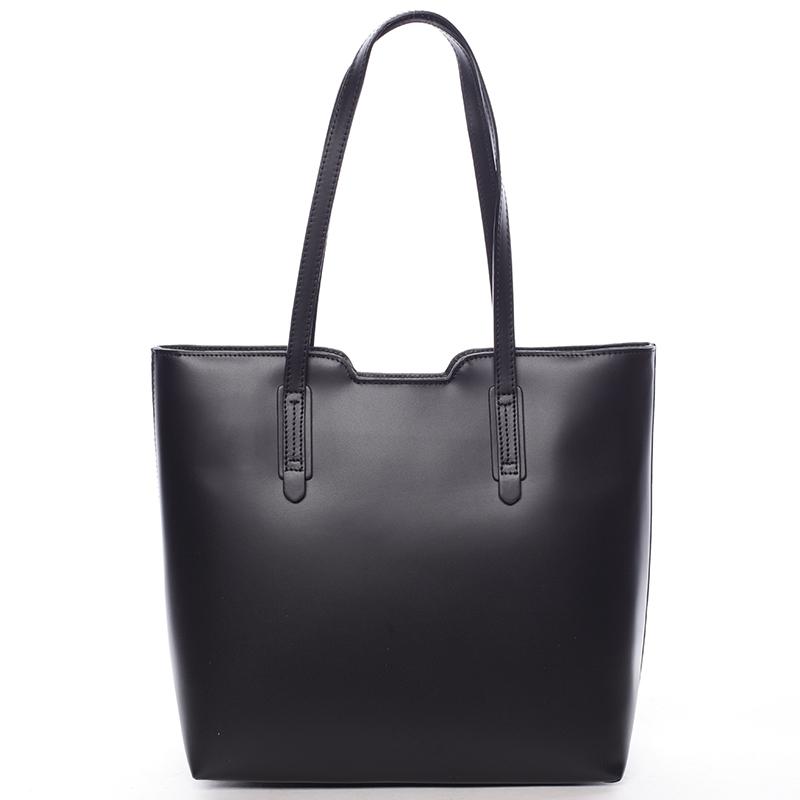 Elegantní dámská kožená kabelka černá - ItalY Aimee