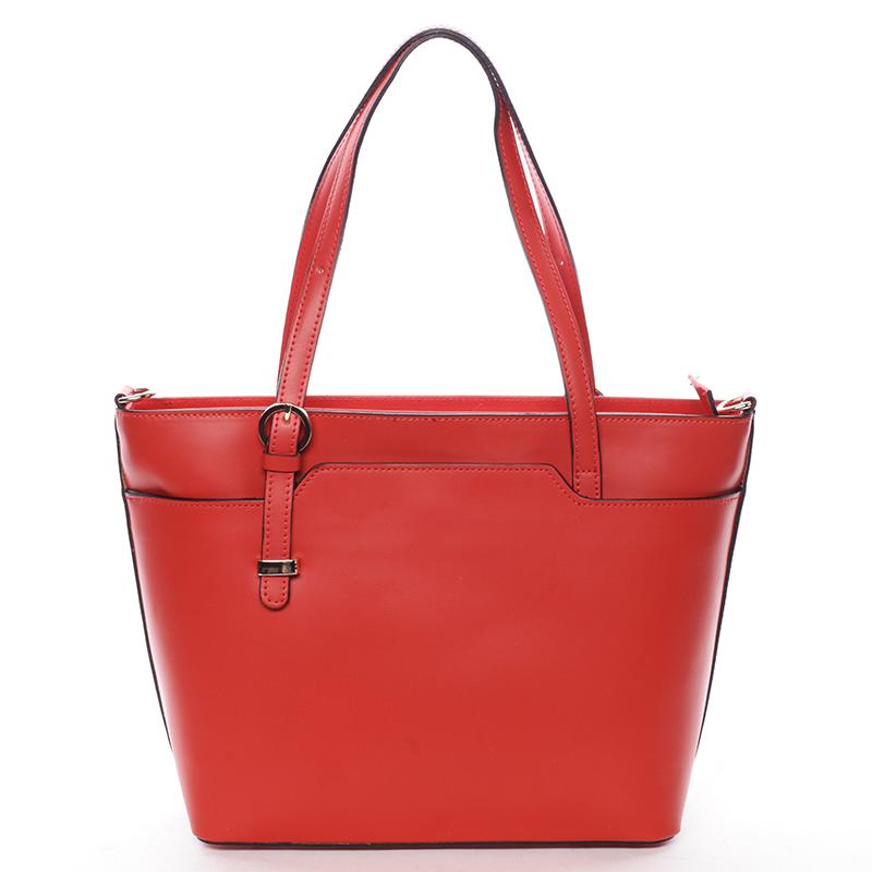 Trendy dámská kožená kabelka červená - ItalY Damiane