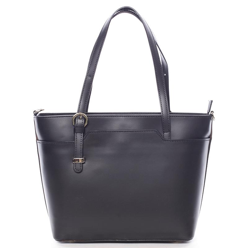 Trendy dámská kožená kabelka černá - ItalY Damiane
