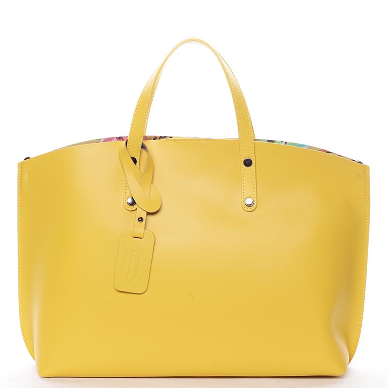 Dámská kožená kabelka žlutá - ItalY Jordana
