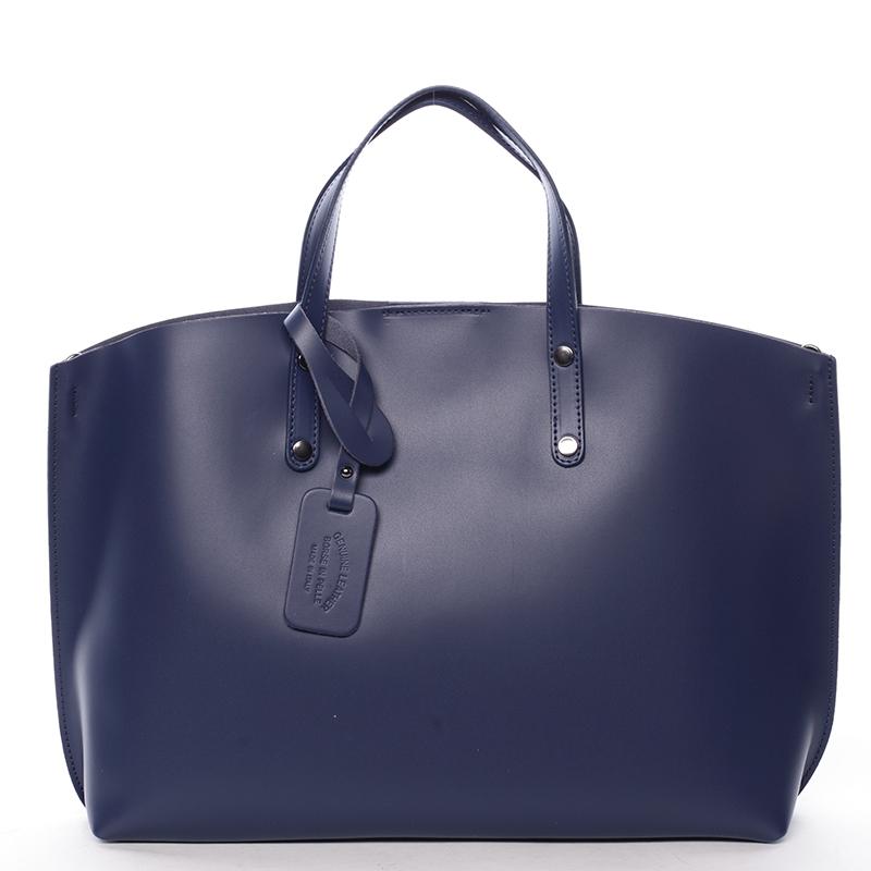 Modrá kožená kabelka do ruky ItalY Jordana 80ae26564e9
