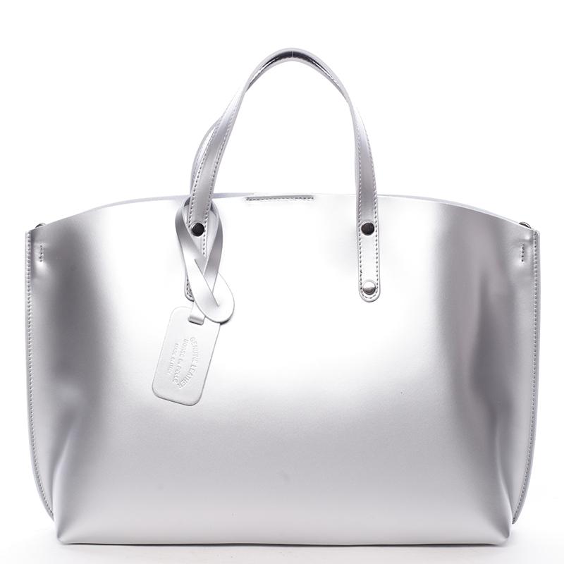 Dámská kožená kabelka stříbrná - ItalY Jordana