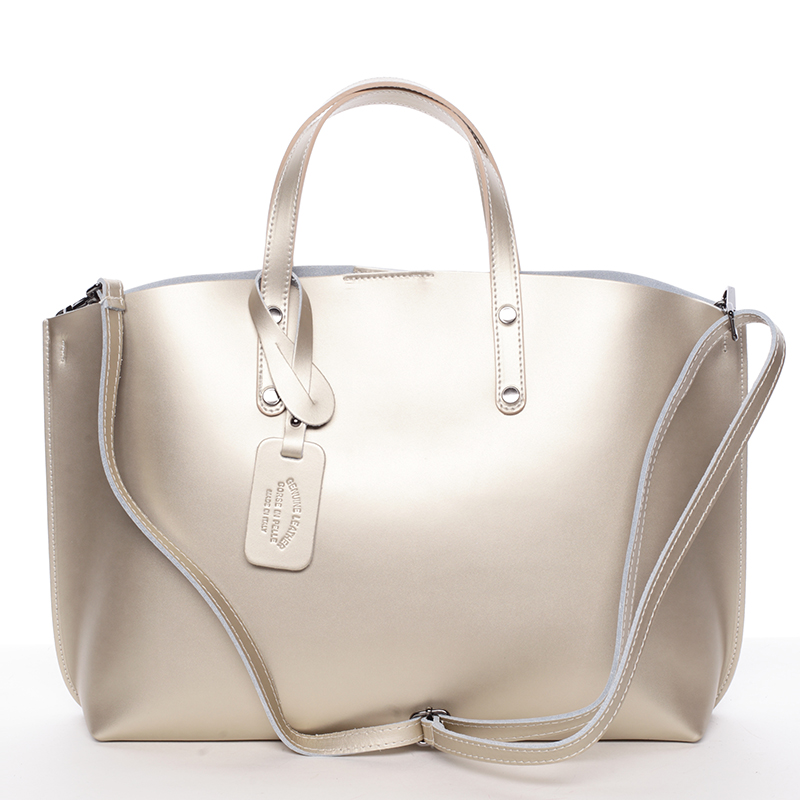 Dámská kožená kabelka zlatá - ItalY Jordana