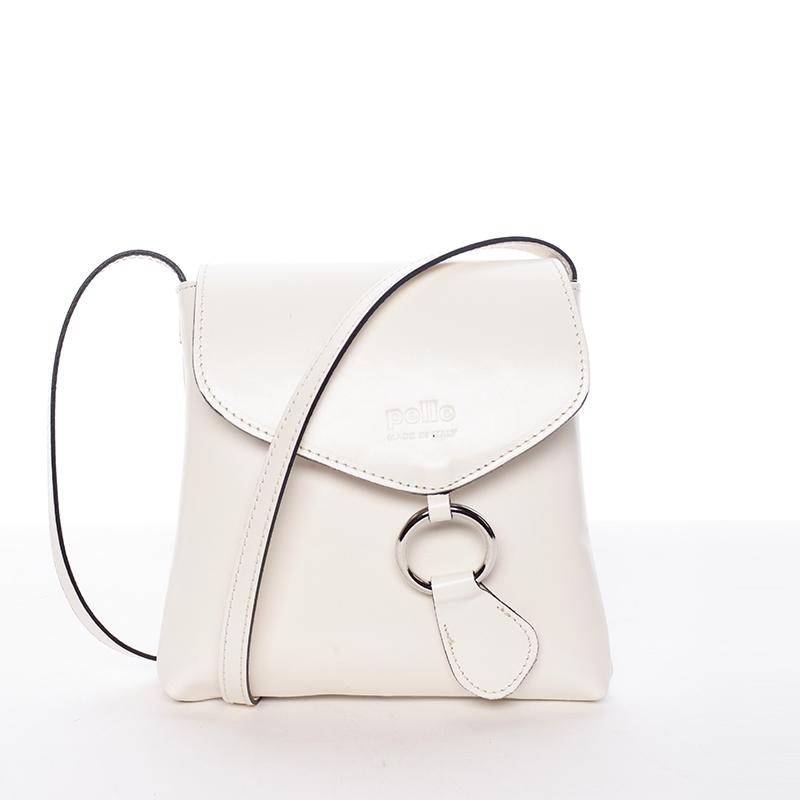 Dámská kožená crossbody kabelka krémová - ItalY Saffie