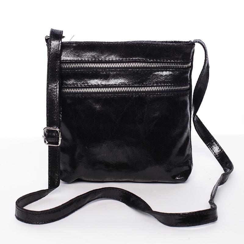 Dámská kožená crossbody kabelka černá - ItalY Trinette