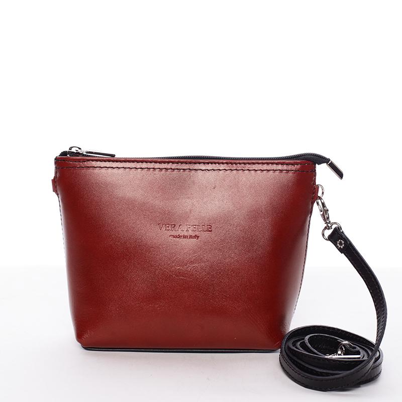 Dámská kožená crossbody kabelka červeno černá - ItalY Garnet