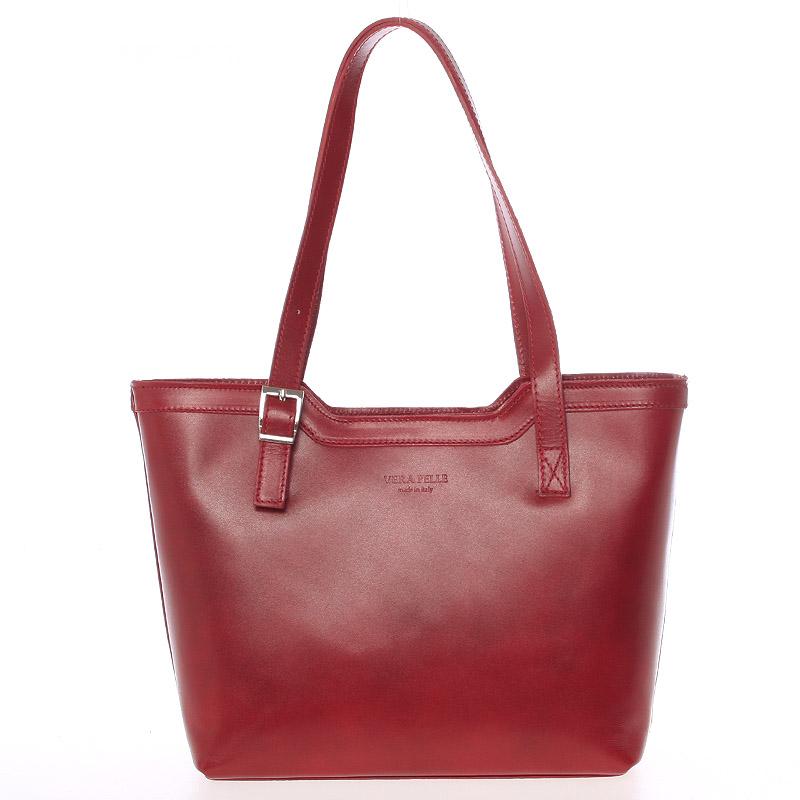 Červená elegantní kožená kabelka ItalY Melisa