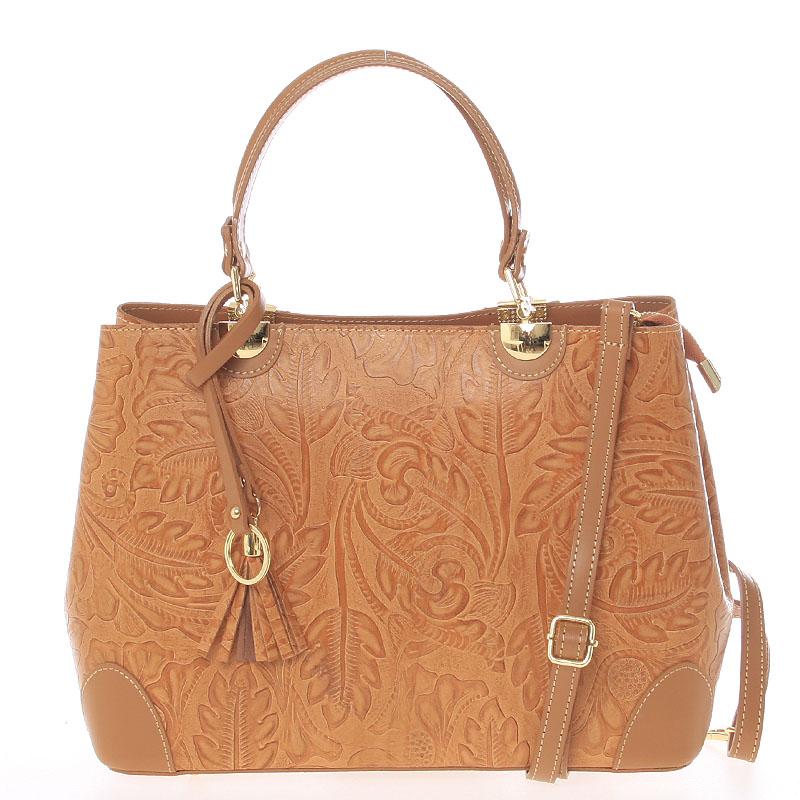Originální dámská kožená kabelka světle hnědá - ItalY Mattie