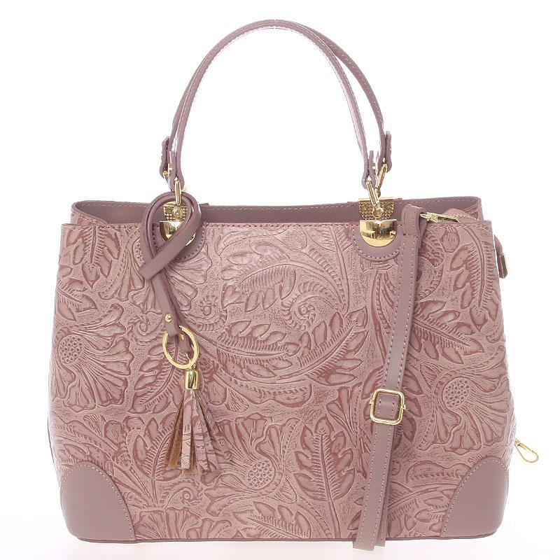 Originální dámská kožená kabelka tmavě růžová - ItalY Mattie