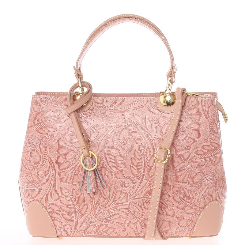 Originální dámská kožená kabelka růžová - ItalY Mattie