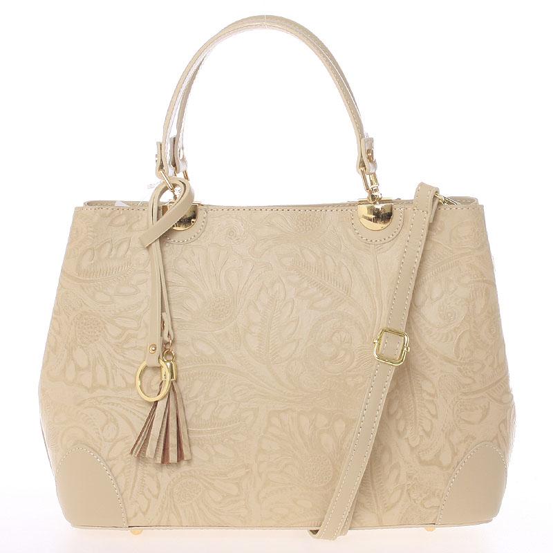 Originální dámská kožená kabelka béžová - ItalY Mattie