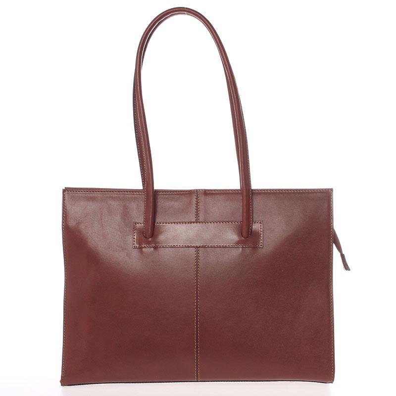 Velká elegantní dámská kožená kabelka hnědá - ItalY Hernana