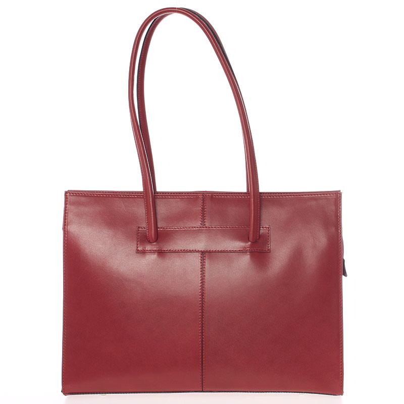 Velká elegantní dámská kožená kabelka červená - ItalY Hernana