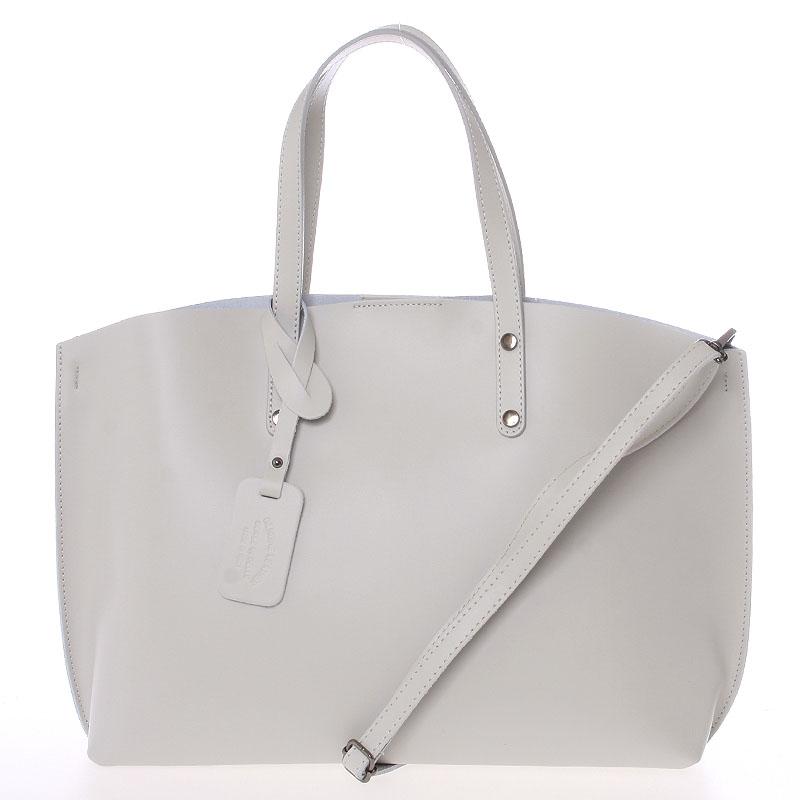 Dámská kožená kabelka světle šedá - ItalY Jordana
