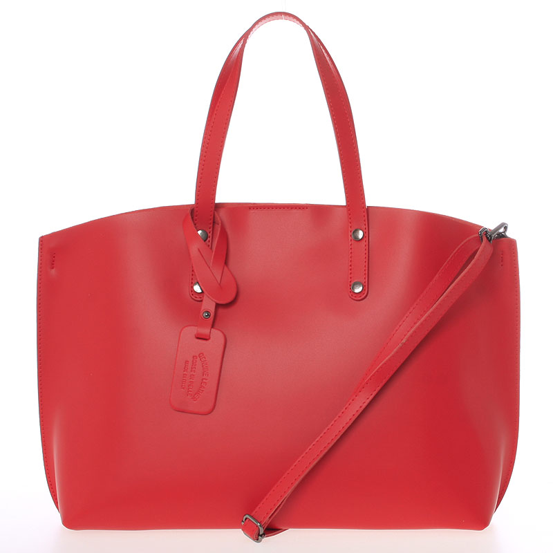 Červená kožená kabelka do ruky ItalY Jordana