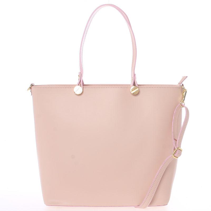 Dámská kožená kabelka světle růžová - Delami Valentina