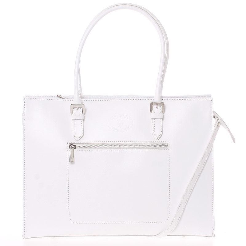 Moderní a elegantní dámská kožená kabelka bílá - ItalY Madelia