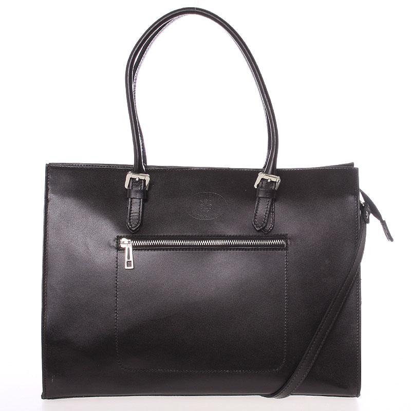 Moderní a elegantní dámská kožená kabelka černá - ItalY Madelia