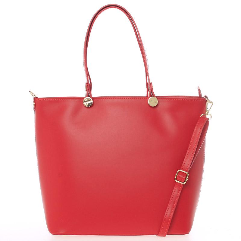 Dámská kožená kabelka červená - Delami Valentina