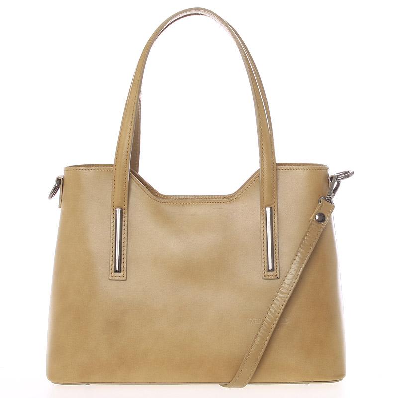 Střední kožená kabelka taupe - ItalY Chevell