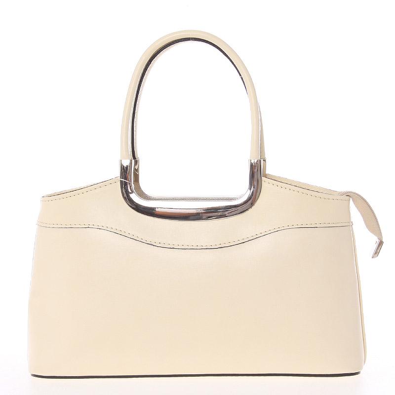 Béžová kožená kabelka do ruky - ItalY Stefanie