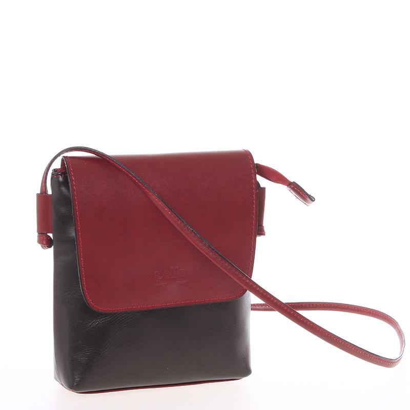 Dámská kožená crossbody kabelka černo červená - ItalY Tamia