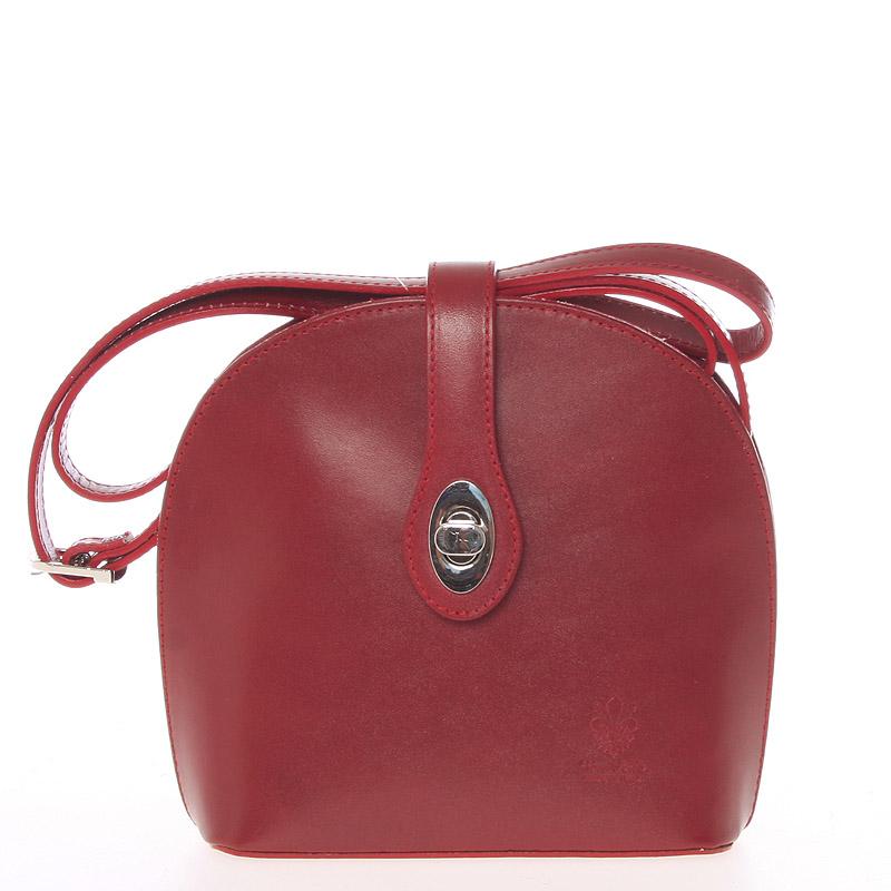 Malá dámská červená kožená crossbody kabelka - ItalY Zerena