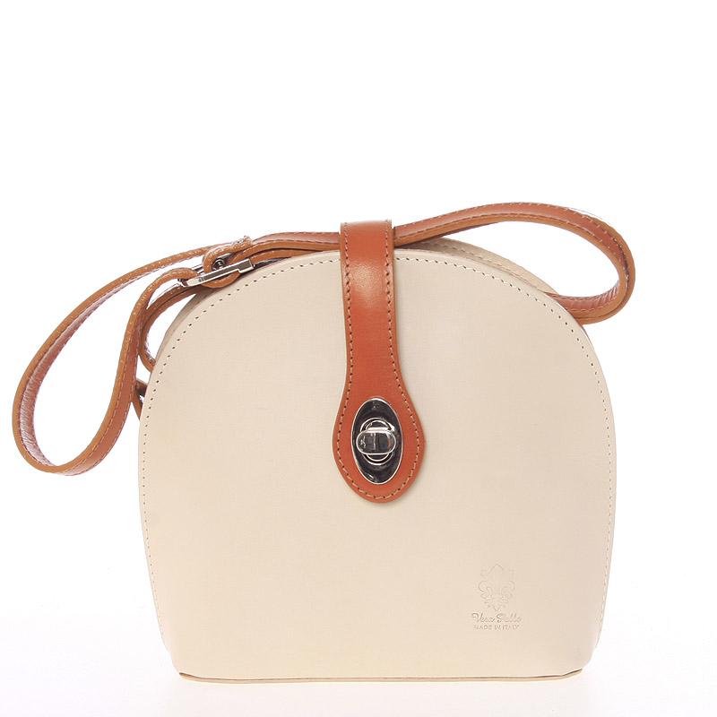 Malá dámská béžová kožená crossbody kabelka - ItalY Zerena