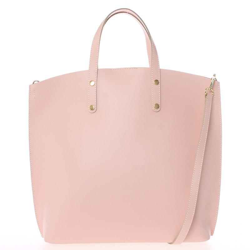 Růžová kožená kabelka do ruky - ItalY Sydney