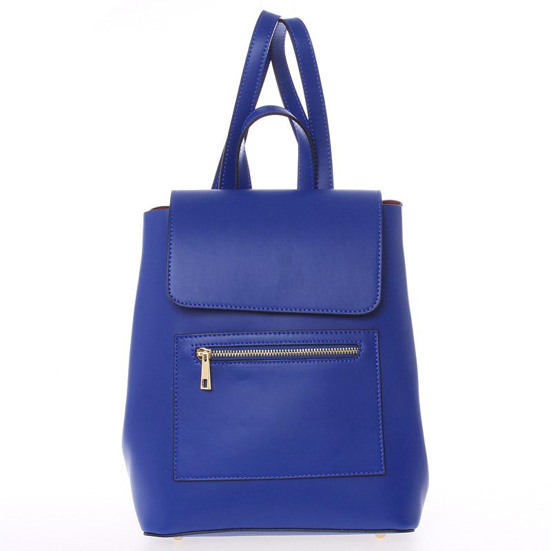 Dámský městský batoh kožený tmavě modrý hladký - ItalY Bernadea