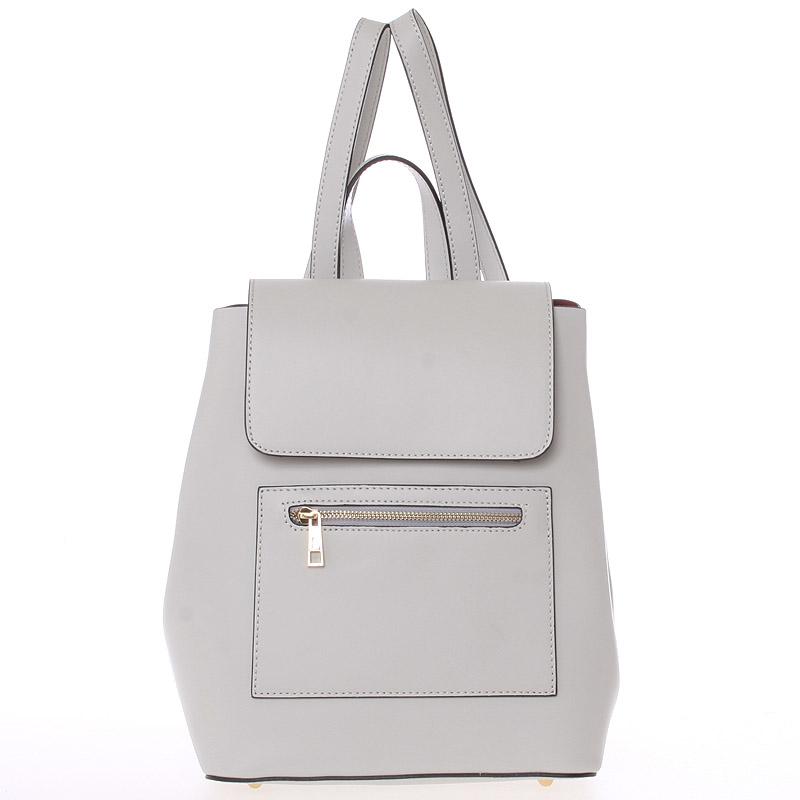 Dámský městský batoh kožený šedý hladký - ItalY Bernadea
