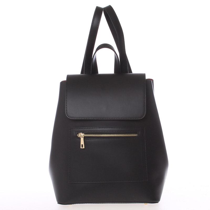 Dámský městský batoh kožený černý hladký - ItalY Bernadea