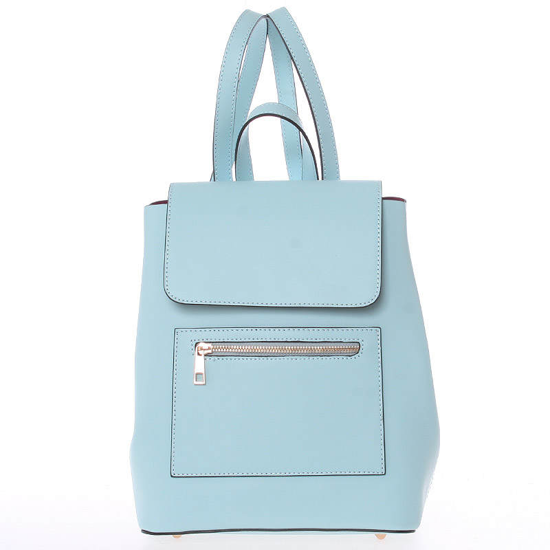 Dámský městský batoh kožený světle modrý - ItalY Bernadea