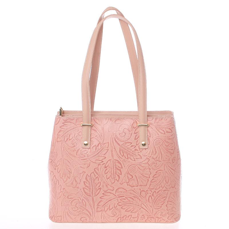Exkluzivní dámská kožená kabelka růžová - ItalY Logistilla
