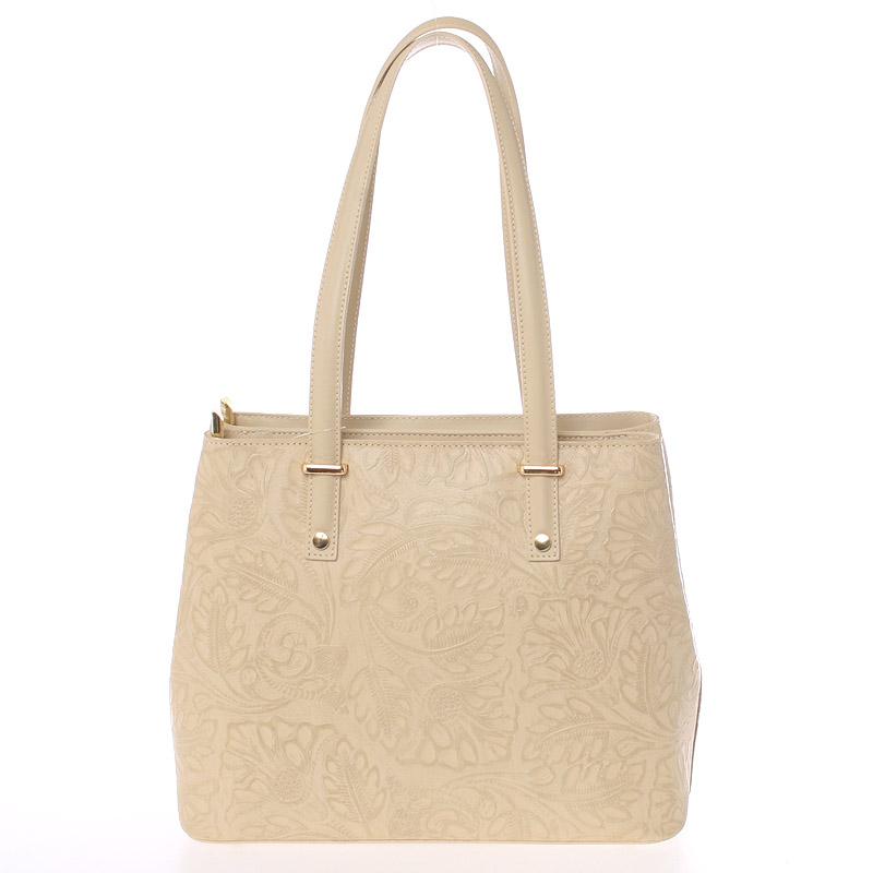 Exkluzivní dámská kožená kabelka světle béžová - ItalY Logistilla