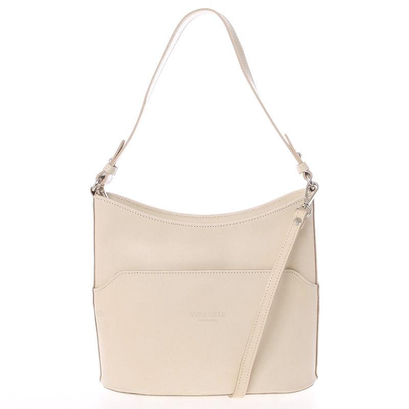 Béžová kožená kabelka přes rameno ItalY Lydia